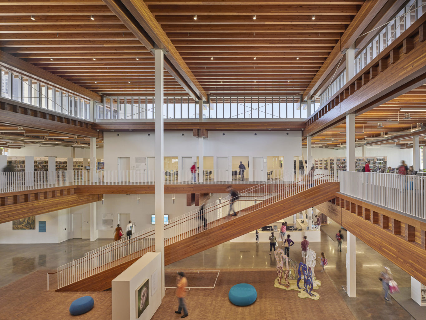 Slide 1 of 1, Billie Jean King Library timber construction
