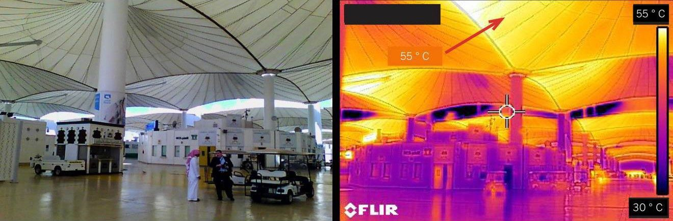Slide 1 of 1, An infrared image shows a dramatic temperature difference between the floor level and the peak of the tents.