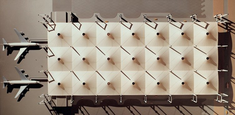 Slide 1 of 1, Model of one of the five modules making up each half of the Hajj Terminal.